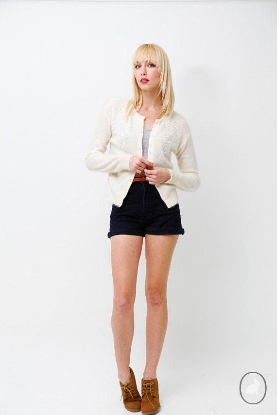Vintage 90s White Angora Beaded Cardigan Sweater - US size medium - Spring Summer Fashion