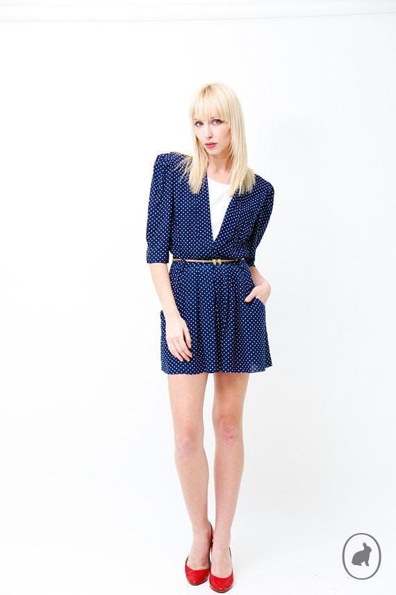 Vintage 80s Blue Polka Dot Nautical Mini Dress - Spring Summer Fashion