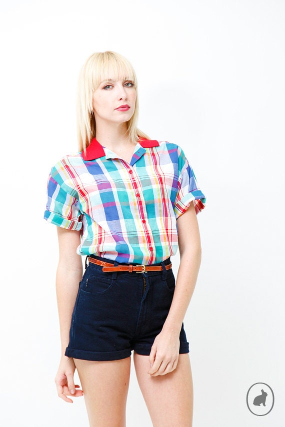 Vintage 80s Indie Plaid Shirt - Button up Short Sleeve Patterned Blouse - Spring Summer Fashion - Small