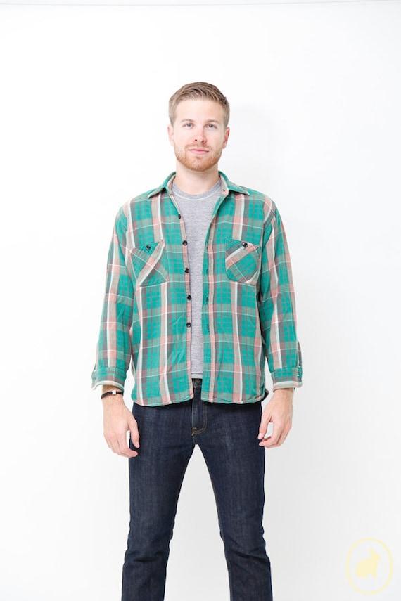 Vintage 1960s Green Plaid Flannel Shirt - Rustic Men's button down - Vintage Sears - Medium