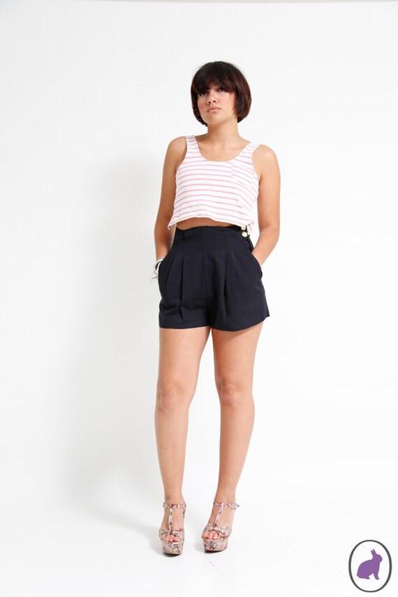 Vintage 90s High Waisted Black Nautical Shorts - US size 6 - Spring Summer Fashion