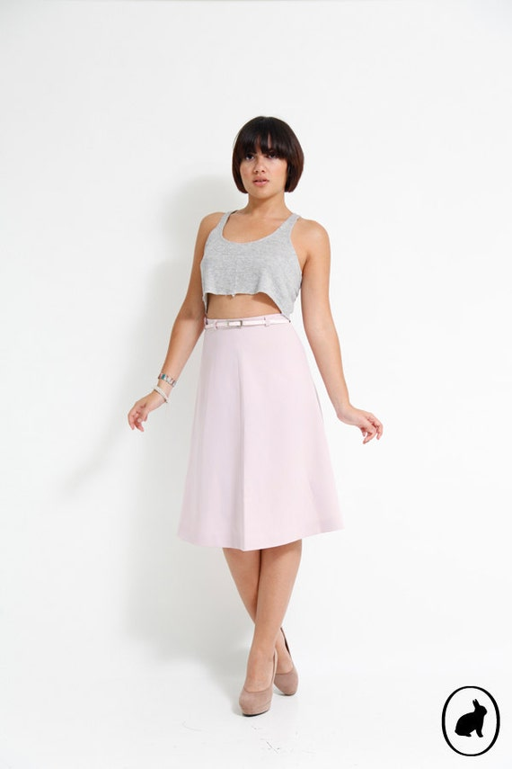 Vintage 80s Sweet Lilac Skirt with Matching Belt - Size US 4 6 - A Line Baby Pink High Waisted Skirt