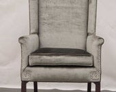 Reserved for Bubsters - Silver/Grey Velour Wingback with Nailheads