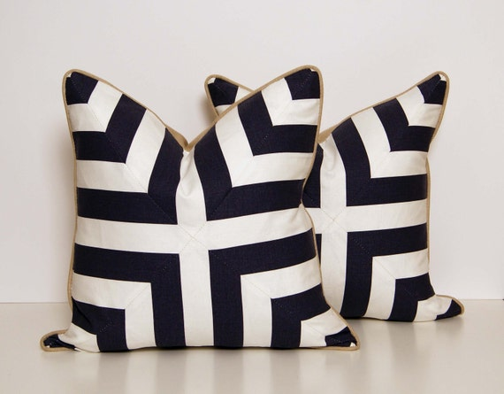 Deep Blue and White Patchwork Pillows