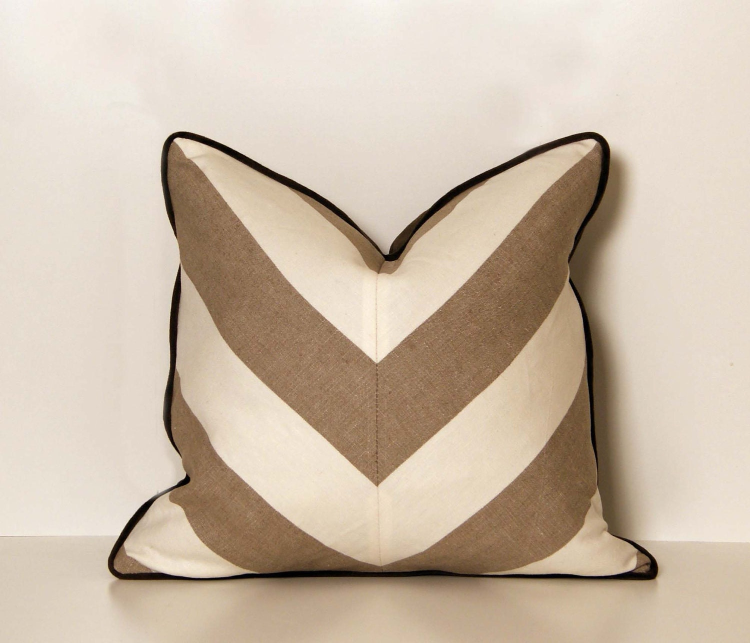 Decorative Pillows And Throws : Linen Beige and White Chevron Throw Pillow