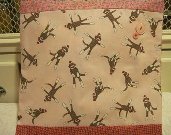 "14"" x 14"" PILLOW COVER - Vintage Look Sock Monkey Stuffed Animal Family Soft Pinks"