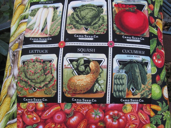 """14"""" x 14""""  PILLOW COVER - Farmer's Market Vintage Seed Packets Delicious Garden Vegetables"""