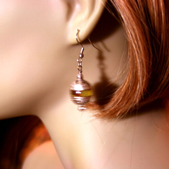 Dangling Amber and Silver Earrings