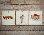 Set of Three Vintage Peg Board Flash Cards : Sled, Winter Tree, Brown Paper Package