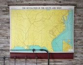 Vintage Pull Down Map : The Revolution In The South And West