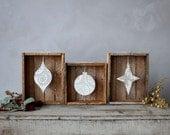 Set of Three : Lath Display Box & Letterpress Holiday Ornament