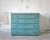 Vintage Four-Drawer Dresser in Turquoise