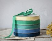 RESERVED for Cindy : Blue Green Teal 6 Rolls Vintage Seam Binding