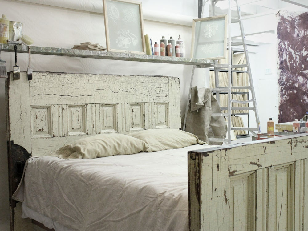 Items Similar To Queen Sized Reclaimed Wooden Door Bed
