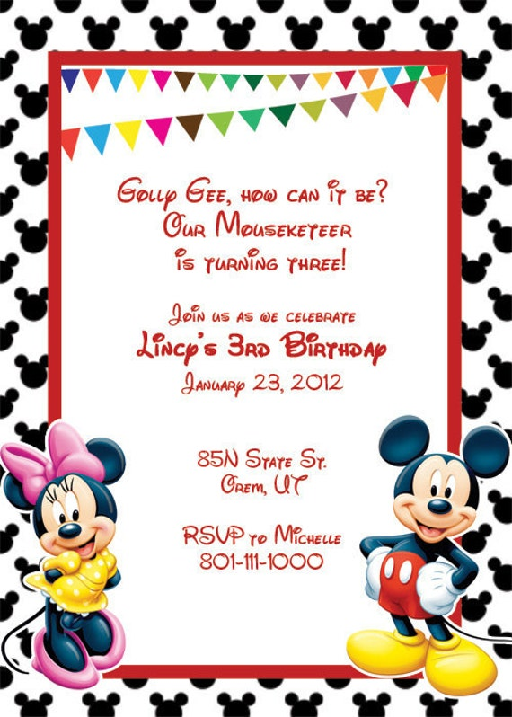 items similar to mickey mouse printable birthday party invitation, Invitation templates