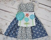 Floral apron and headband PARTY SET girl 2 3 4 5 6 years BLUE