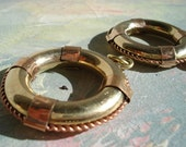 two steampunk heavy solid brass n copper LifeBuoy pendant charm