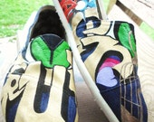 """Hand Painted TOMS """"Grace&Truth"""" Classic Canvas Custom Slip-Ons"""