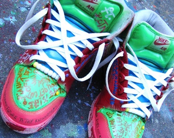 "Hand Painted Nike Air Force 2 High ""AeroS.O.L."" Custom Sneakers"