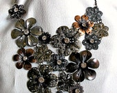 Necklace and Earrings - Floral Metal Garden - Bib Flower Necklace - Jewelry