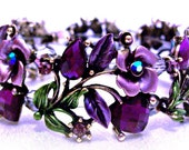 """RESERVED for PCF Team """"Win This Treasury"""" Bracelet Purple Roses Hearts Jewelry Design Red Hat Society Lady Treasury Item"""