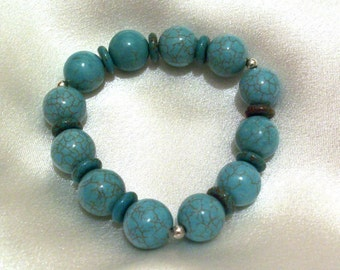 Genuine Turquoise Bracelet - Sterling Silver Jewelry - Beaded Bracelet