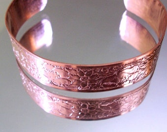 Healing Copper Cuff Bracelet Flower Design Copper Jewelry gift for her