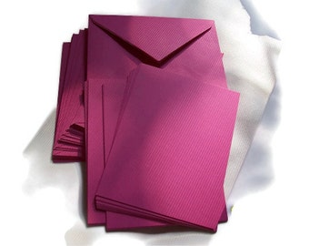 "Liquidation SALE see coupons Stationery Set, Fuschia Note Cards with matching envelopes, Invitations, Blank Cards, 25, 4""x5"", double sided"