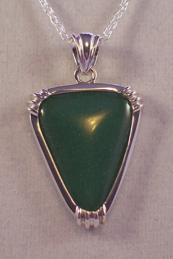 Aventurine Pendant Necklace Sterling Silver Jewelry