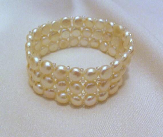 White Pearl Bracelet Bridal Cuff Wedding Jewelry