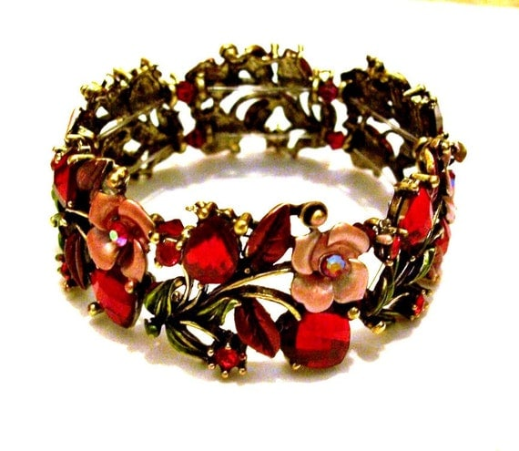 Bracelet Red Roses Hearts Crystals Red Hat Society Lady