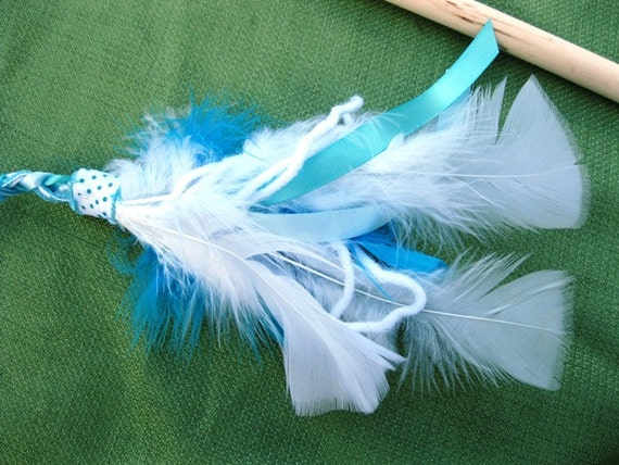 Cat Toy, Ribbon Wand, Sky Blue and White
