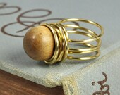 Upcycled Wooden Button Ring, Wire Wrapped, Adornable Vintage