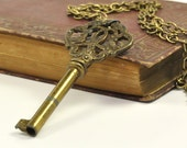 Ornate Antique Skeleton Key Necklace, Long, Old Key, Brass Bronze, Adornable Vintage