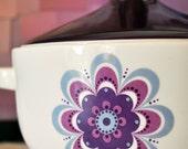 Vintage German Porcelain  Soup Pot / Tureen in Purple -- Hutschenreuther