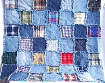 Denim rag quilt tutorial PDF pattern - picnic blanket - recycled eco friendly fabric rag rug