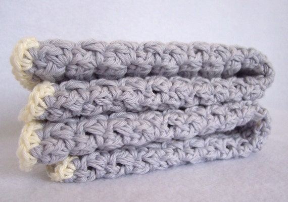organic cotton crochet washcloths, eco, soft and gentle, pale blue and cream