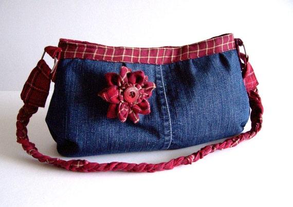 Denim shoulder bag with flower brooch red plaid trim, plaited handle - recycled