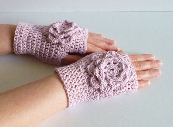 Pink sorbet crochet wrist warmers fingerless gloves large flower recycled cotton yarn  eco friendly