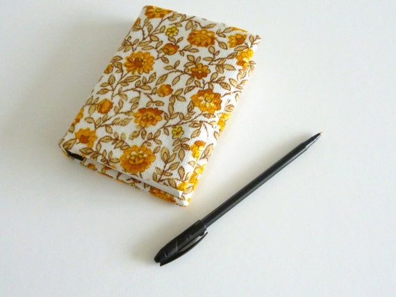 Mini sketchbook journal -  vintage yellow and orange fabric cover - eco friendly journal
