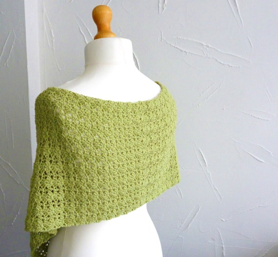 Shawl - wrap - scarf  crocheted lace in milk cotton yarn pistachio lime green summer wear