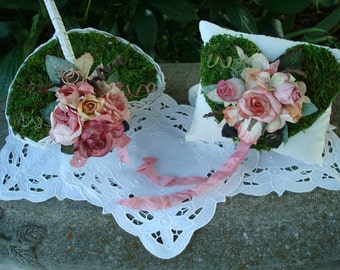 Rustic FLOWER GIRL Basket And Ring Pillow- OOAK Set-Gorgeous Two Piece Moss Set-Outdoor Wedding,Rustic Woodland,Fairy,Cottage,Shabby.