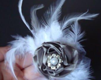 TREASURY ITEM-Wedding Feather Fascinator-Hair Clip-Brooch-Pin-Grey Satin Ribbon-White Feathers-Pearl-Diamond-Tulle.