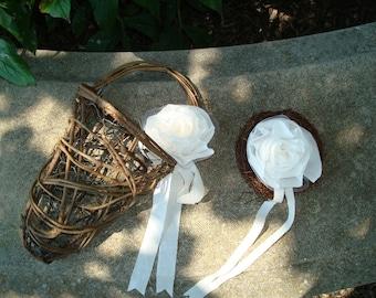 Wedding-FLOWER GIRL Basket And Ring Bird Nest-OOAK-Shabby Muslin Roses-Country Woodland Wedding-Rustic-Fall-Barn-Fairy Weddings.