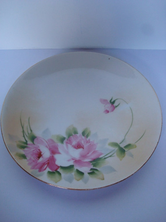 NIPPON HANDPAINTED PLATE-Pink Rose Hand painted design-Shabby Chic-Romantic.