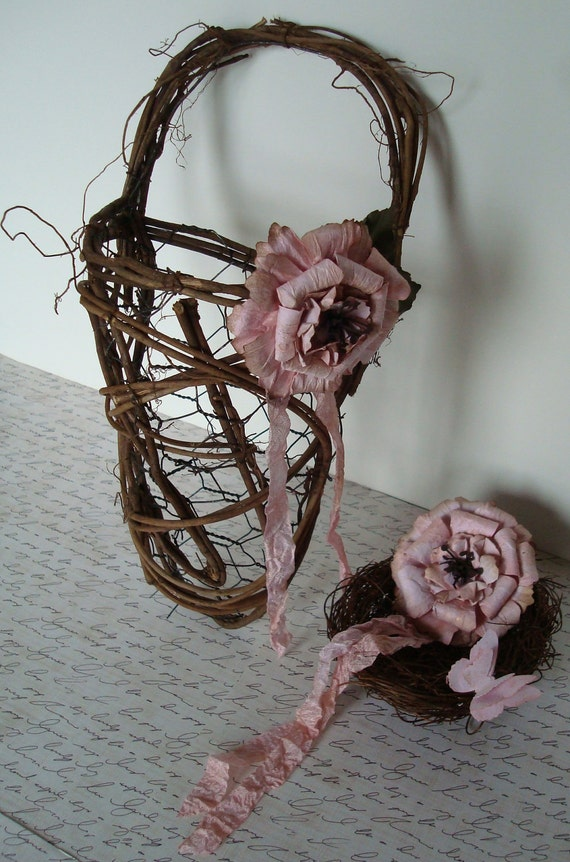 RESERVED LISTING-Wedding Flower Girl Basket And Ring Nest Set-OOAK-Country-Outdoor-Fall-Rustic-Woodland-Pink Wedding