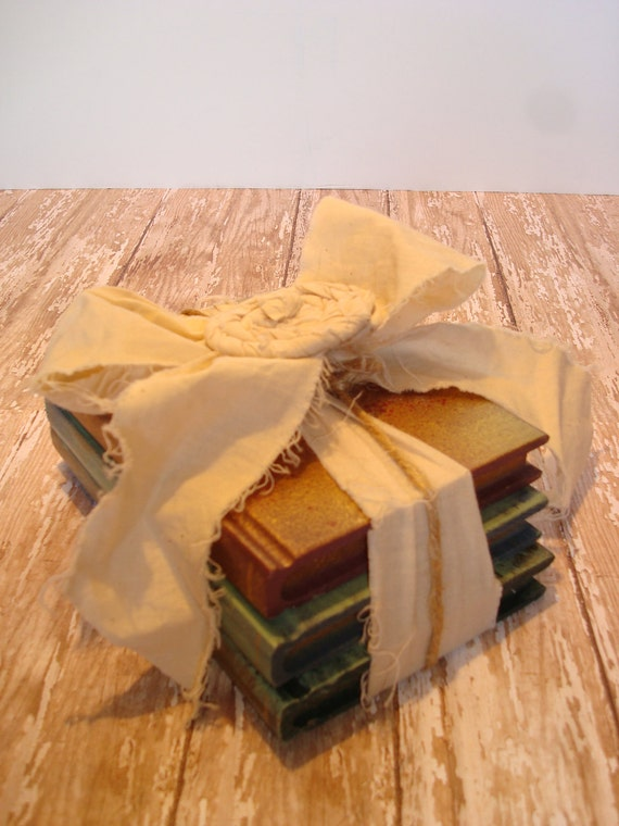 Wooden Stack Of Books Tied With A Tea- Stained Muslin Bow And Muslin Rolled Rose-Shabby Chic-Vintage Style-
