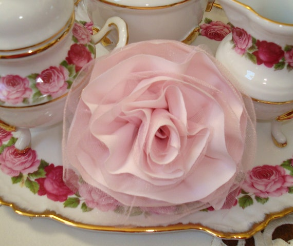 Tattered Rose-Pink Fabric And Tulle-Shabby Chic-Romantic Home-Home Decor-