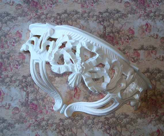 Wall Shelf-White Resin-Made In Italy-Scrolling Ribbons and Flowers-Shabby-French-Cottage-Romantic-Prairie.