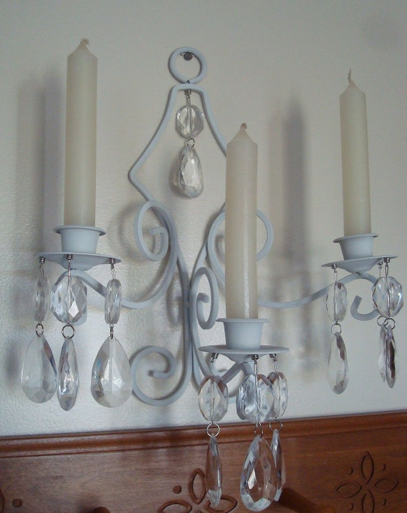 Wall Sconces For Candles With Crystals : RESERVED ITEM-Wall Sconce-Candle HolderMagnetic by TapersnPetals